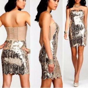 Bebe beige mesh gold leaves sequin dress L